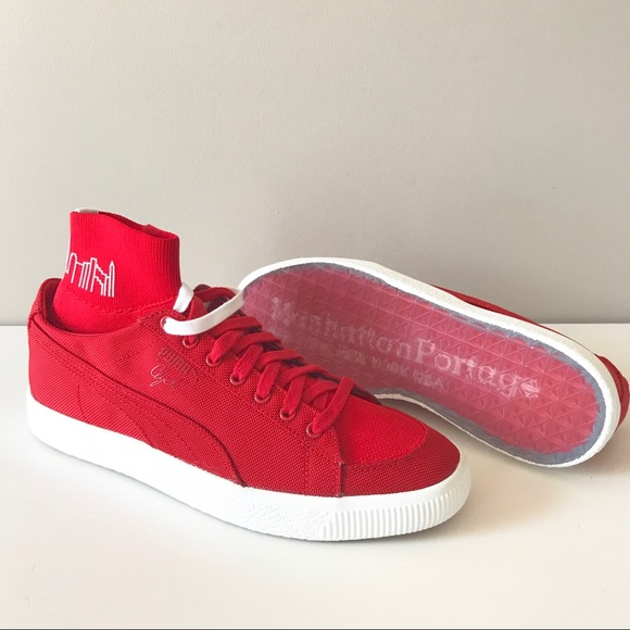 Puma x Manhattan Portage Red Clyde sock sneaker 9 NWT